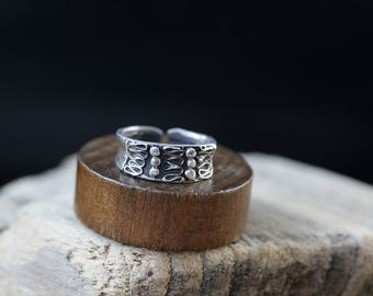 Sterling Silver Ornate Cuff Style Ring