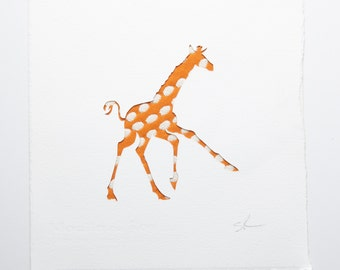 Baby giraffe handmade papercut picture // personalized baby gift - new baby gift - nursery wall art - nursery decor - safari animals