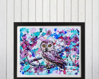 Watercolor Owl Art, Woodland owl print, watercolor owl print, Woodland nursery art, Owl decor