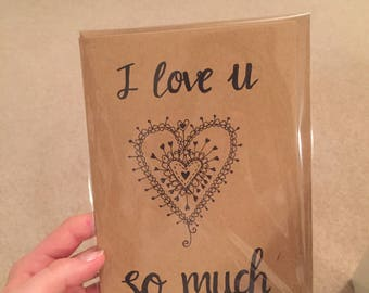 I love you heart doodle card