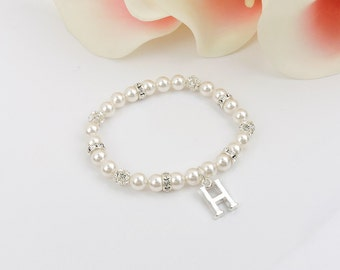 FREE US Ship Stretchy Personalized Swarovski Pearl And Rhinestone Flower Girl Bracelet With Letter Charm Personalized Flower Girl Gift