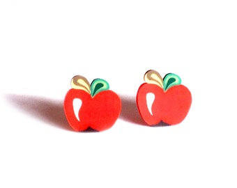 Red apple earrings, red apple studs, apple earrings, cute earrings, girls first earrings, fruit studs, Cute studs, stocking filler gifts