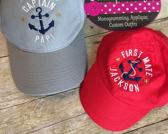 Daddy and son matching captain hats- personalized!