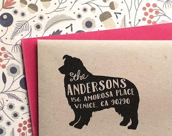 Custom Address Stamp - Australian Shepherd Dog Return Address Stamp, customized gift for holidays, housewarming and weddings, school