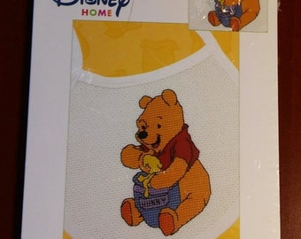 "On Sale, Janlynn, Disney Home, Pooh Collection ""Handful of Honey Bib"", Counted Cross Stitch Kit, Size 4.5"" x 2.75"", Pooh Cross Stitch"