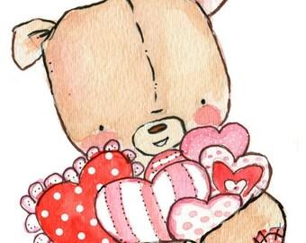 Children Art Print. A Teddy Bear Valentine. PRINT 8X10. Nursery Art Home Decor