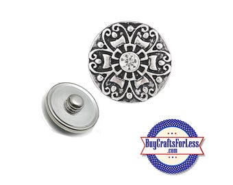 SNAP Button, 18mm INTERCHaNGABLE Button with rhinestone center for bracelets, key rings, necklace +FREE Shipping & Discounts