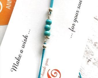 Turquoise Bracelet Teal Bracelet String Bracelet Friendship Bracelet Sterling Silver Bracelet Turquoise Howlite Bracelet Silver Bracelet