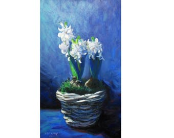 oil painting // flower still life of hyacinth // artistic work of art // hand-painted impressionism art