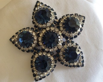 Vintage Rare Rifas Sapphire  and Clear Star/Flower Rhinestone Brooch
