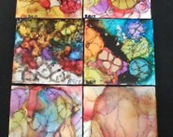 Ceramic Tile Coasters Alcohol Ink Painted Designs 4.5 in x 4.5 in