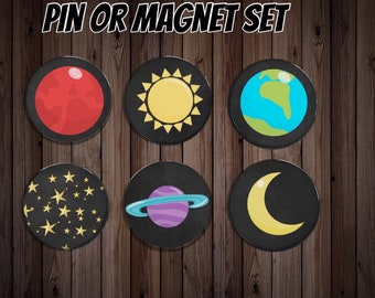 Fridge magnet   kitchen magnet   dinner gift   space magnet   friend gift    host gift   party gift   party favor   space pin  planet magnet