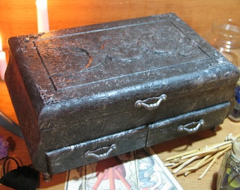 Wicca Goddess Tarot Card Candle Altar Spell Box, Pagan, Stash, Wooden Box