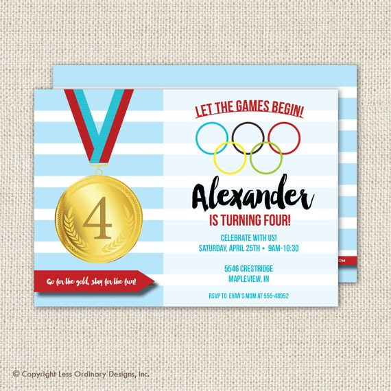 Olympics Birthday Party Invitation Olympics Party Sports - Olympic party invitation template