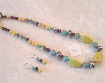 "Turquoise with Yellow Ceramic and Amethyst 20.5"" Necklace with Earrings"