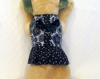 Navy and Gray Dog Harness Dress Size XXSmall Teacup
