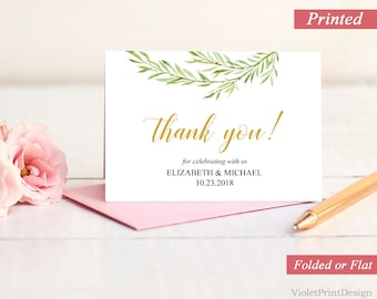 Printed Greenery and Gold Thank you Card. Calligraphy Thank you label. Leaves Spring Eucalyptus Thank you card. Free Shipping