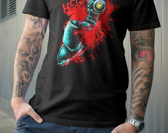 T Shirt of my X Robot rage Megaman inspired painting art clothing design for Men and Women by Barrett Biggers
