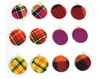 Handmade  Set Of 6 Maasai Shuka Cloth Earrings