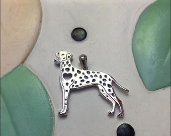 Dalmatian with Heart Cutout Sterling Silver Charm Necklace