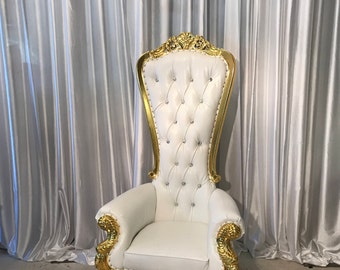 ORDER NOW! Shipping June 29.  Throne Chair White with Gold Trim