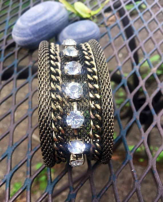 Runway Style Goldtone Mesh & Chain Wide Cuff With large Rhinestone Studs