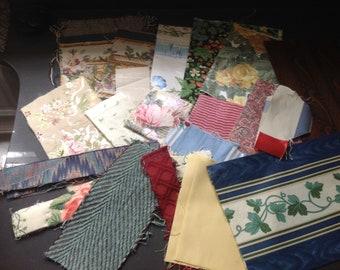 Brocade and vintage decor fabric scraps