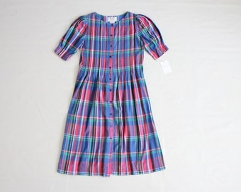 pink and blue plaid dress
