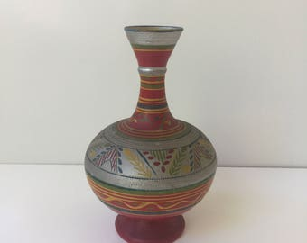 Vintage Mexican Hand Painted Terra Cotta Vase Bohemian Decor
