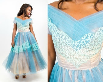1950s Blue and Peach Party Tulle and Lace Dream Party Dress - XS