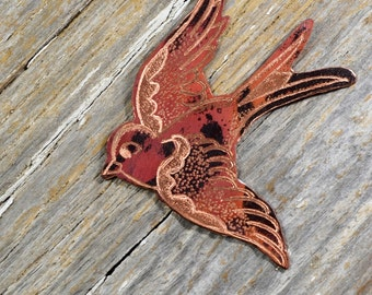 Vintage Blue Bird Sailor Jerry Tattoo Necklace  Copper Necklace Hand Engraved & Heat Patinaed, Classic Tatto Flash Inspired: Inkd42