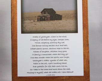 Poem with nostalgic photo, Handcrafted, 5x7 mounted on 6x8 Canvas with copper acrylic paint trim, includes easel for display.
