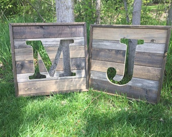 Personalized Rustic Wooden Letter Sign - Wooden Letter Cutout - Nursery Initial - Home Decor
