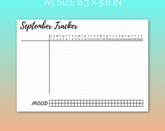 PRINTABLE September 2018 Habit Tracker | Printable Paper, Dot Grid Paper, Planner Paper, Writing Paper, Bujo Paper | PDF | Instant Download