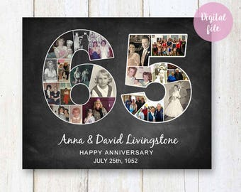 Photo Collage 65th anniversary Gift For Parents Grandparents Grandpa Nanny Grandma Friends grandmother chalkboard sign 1953 - DIGITAL FILE