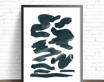 Indigo Abstract Brush Stroke Print . Shapes print . Night sky wall art . Abstract Bedroom wall art .