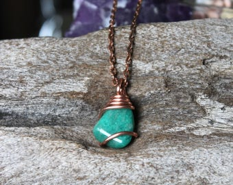 Natural Amazonite Necklace - Wire Wrapped Stone Jewelry - Amazonite Jewelry - Healing Stone Necklace - Gypsy Boho Jewelry Bohemian Necklace