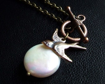 Coin pearl necklace and YOUR CHOICE of sparrow bird, owl, or  bee charm, front closure, toggle clasp, simple necklace, small charms