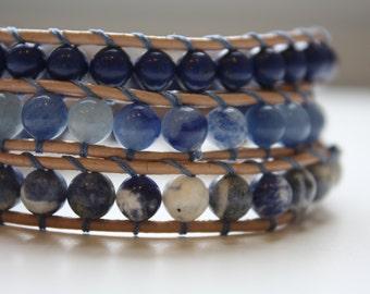 Artcic Blue Beaded Wrap Bracelet