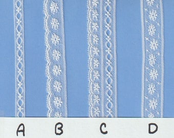 White French Cotton Lace Edging and Insertion and Beading - Heirloom Sewing Supplies - Doll Dress Supplies