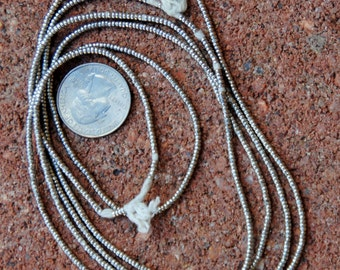 African Silver Heishi: 2 Strands (1.5x2mm)