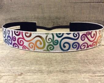 White Rainbow Swirls Nonslip Headband, Noslip Headband, Workout Headband, Sports Headband, Running Headband, Athletic Headband
