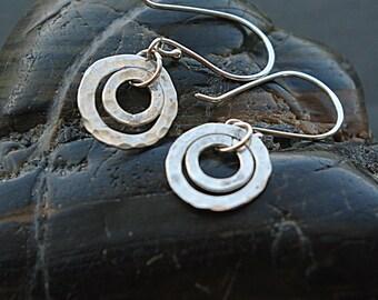Circle Earrings, Spiral Earrings, Silver Hammered Earrings - Circle Dangle Earrings - Argentium Sterling Silver Earwire Dangle Earrings