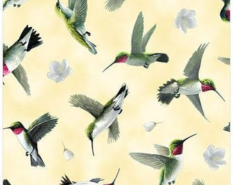 Quilting Treasures - Hummingbirds - Hummingbird in Flight - Lt Yellow - Fabric by the Yard 25935-S