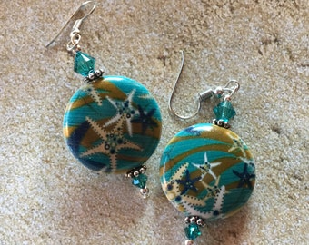Let's Go to the Beach, Colorful Star Earrings, Starfish Earrings, Beach Earrings, Ocean Earring, Nautical Earrings, Jewelry, Womens Jewelry