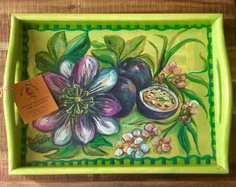 Wooden Tray-Hand crafted and hand painted-Carribbean Folk art gift for home-Tropical Island style- Floral design