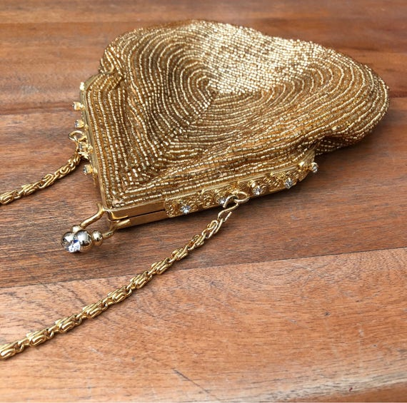 Vintage CACHE Gold Beaded Purse with Rhinestone Clasp and Closure - Gold Chain Strap