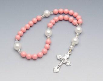 Anglican Prayer Beads - Peach/Pink Genuine Swarovski Rosary with Ornate Cross - Religious Gift - Item # 817