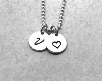 Letter V Heart Necklace, Sterling Silver, All Letters Available, Hand Stamped Jewelry, Personalized Jewelry, Mother's Necklace, Gift for her