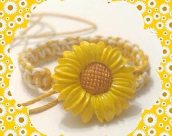 Sunflower Hemp Bracelet, Sunflower Bracelet, Hemp Bracelet Handmade, Hemp Jewelry, Friendship Bracelet,  Button Clasp Bracelet.